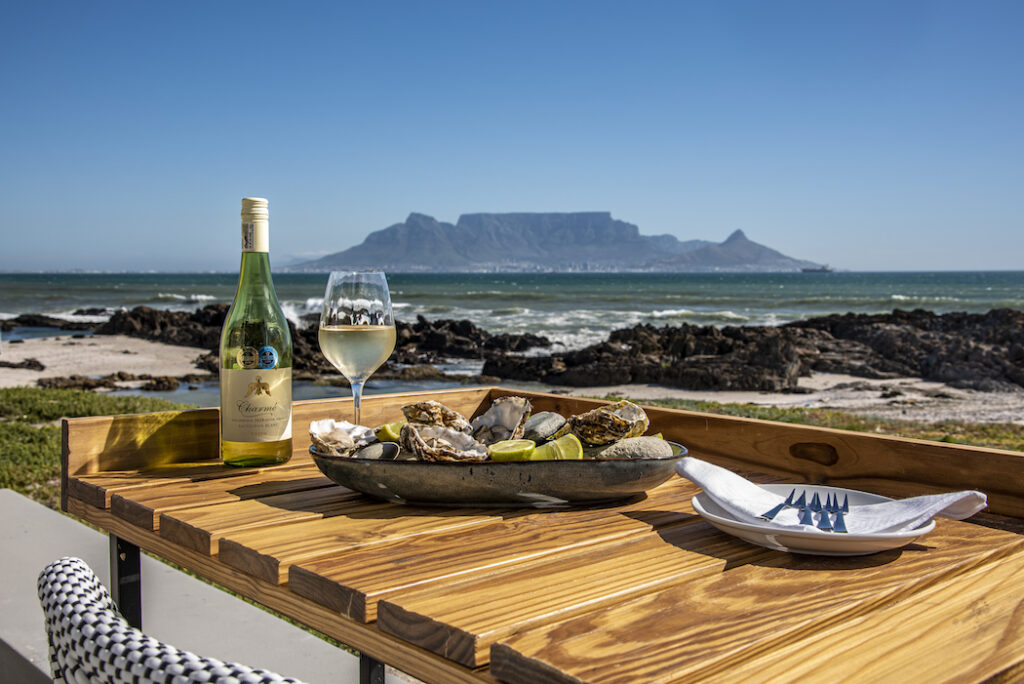 Belle Maroc Boutique Guest House, wine and oysters, Blouberg, Table Mountain view, Blouberg restaurant